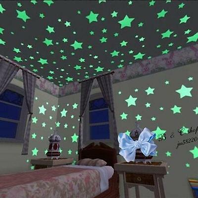 100pcs Wall Glow In The Dark Stars Stickers Kids Bedroom Nursery Room Decoration