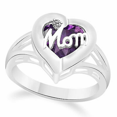 Mothers Birthstone Mom Heart Ring In 925 Sterling Silver Diamond Accent-1-Stone