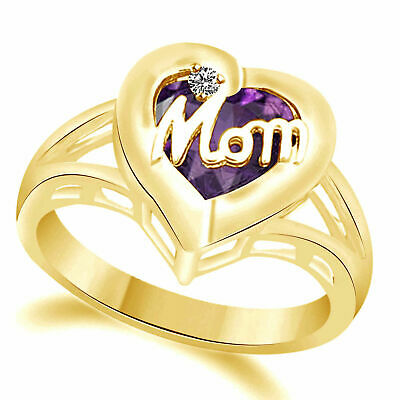 Mother Birthstone Mom Heart Ring In 18K Yellow Gold Over Sterling Diamond Accent