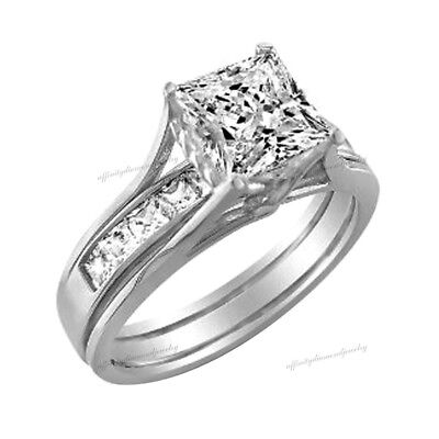 2 Ct Princess Cut 2 Piece Engagement Wedding Ring Band Set Solid 10K White Gold