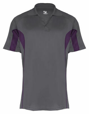 Badger Sportswear Men's Three Button Placket Polyester Drive Polo Shirt. 3346