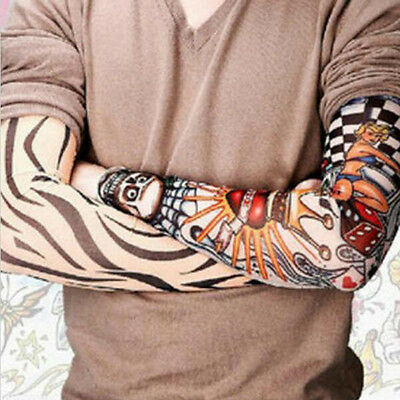 4 x Tattoo Sleeves - Temporary Fancy Dress Costume Party Stockings Fake Goth Emo