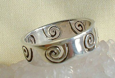 925 Solid Silver Spiral of Life Ring~Wicca~New Pagan Jewellery~Goddess