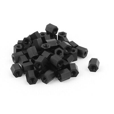 M3x6mm Female Thread Nylon Hex Standoff Spacer PCB Pillar Screw Nut Black 50pcs