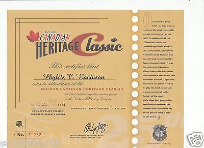 1st NHL Heritage Classic Outdoor Game Attendance Certificate Oilers vs Canadiens