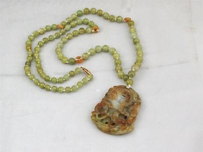 Vintage Hand Made Chinese Nephrite Jade Beaded Necklace, 91 Beads Dragon Pendant