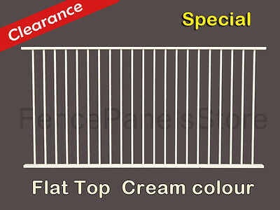 Flat Top pool fence panel, 1200x2400mm Galvanized steel Black/Cream colour