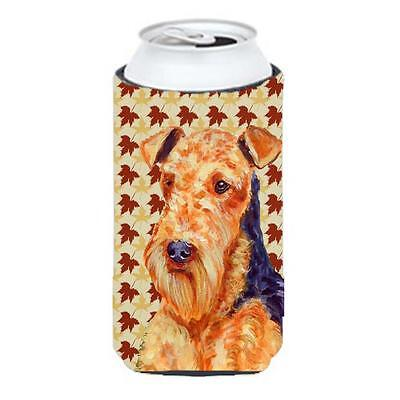 Carolines Treasures Airedale Fall Leaves Portrait Tall Boy Hugger 22 To 24 oz.
