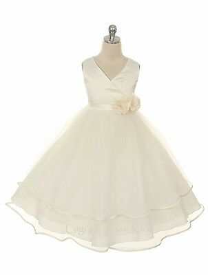New Ivory Flower Girl Dress Pageant Wedding Bridesmaid Formal Birthday Party 308