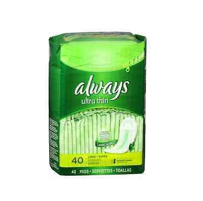 Always Ultra Thin Pads Long Super 40 Each (Pack of 3)