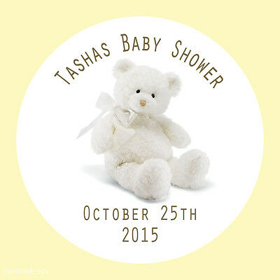35 x Personalised Teddy Bear Christening Baptism party bag Stickers Favours 599