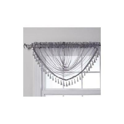 "Charlotte Sheer Waterfall Valance With Tassel 47"" X 38"""