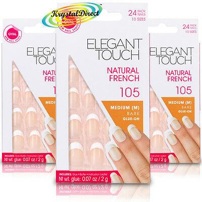 3x Elegant Touch French Manicure 105 Oval Medium Bare Glue On False Nails