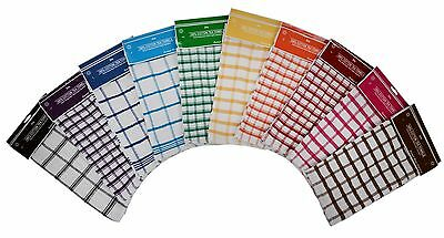 120 Wholesale Job Lot Terry 100% Cotton Check Tea Towels Assorted Colours