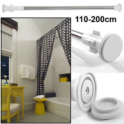 110-200cm Stainless Steel Extendable Tension Bath Shower Curtain Rail Pole Rode