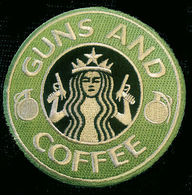 Starbucks Guns & Coffee Embroidered Iron On Patch
