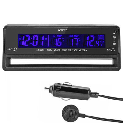Digital 12V LCD IN OUT Clock Car Thermometer Monitor Battery Alarm Voltage °C F