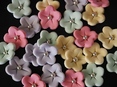 Cute Edible Flowers CUPCAKE TOPPERS Birthday Cake Decoration WEDDING Baby Shower