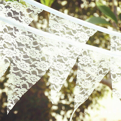 3.85M Rustic Lace Fabric Flower Bunting Banner 11 Flags Wedding Party Decor DIY