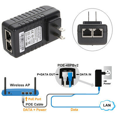 24V 1A POE Injector Power Over Ethernet Adapter for 802.3 IP Camera WLAN US Plug