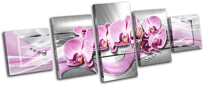 Modern Floral Abstract MULTI CANVAS WALL ART Picture Print VA