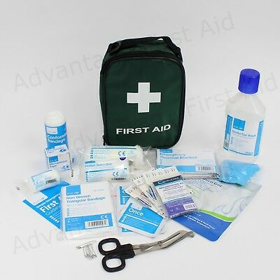 Travel & Vehicle First Aid Kit in Handy Green Bag. BS 8599-1 Compliant for Work.