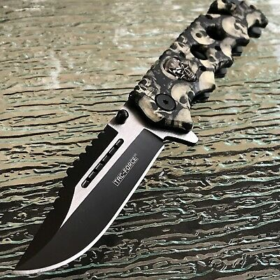 "8.25"" GREY SKULL ASSISTED OPEN TACTICAL FOLDING KNIFE Pocket Blade TAC FORCE"
