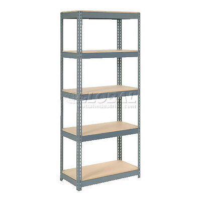"""Extra Heavy Duty Shelving 36""""W x 12""""D x 84""""H With 5 Shelves, Wood Deck"""