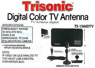 Digital Indoor TV Antenna HDTV Ready HD VHF UHF Flat Design High Gain TS-1566DTV