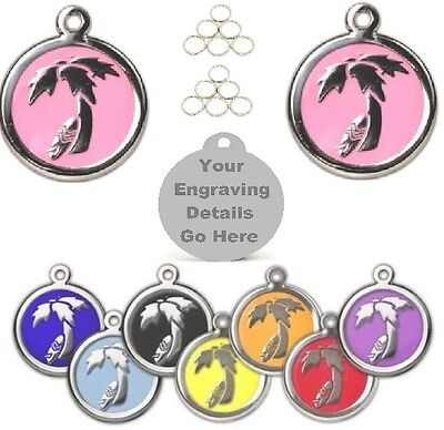 Engraved Pet ID Tags-25mm Palm Tree-Dog Name Identity Discs Disks Personalised
