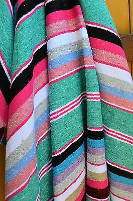 ALL COTTON Premium Handwoven Authentic Mexican Blanket Throw Yoga Mint Sherbet