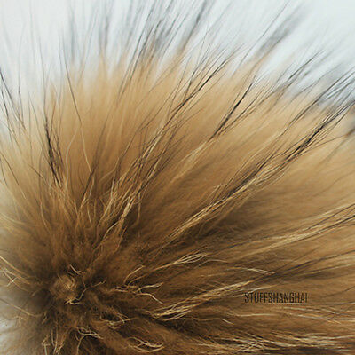 Fluffy Faux Racoon Dog Fur Ball Pom Poms Clip for Ladies Beanie Hat Accessories