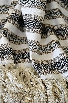 "Mexican Blanket in ""Diamond"" Black Brown Natural PREMIUM 84x56 Handwoven Throw"