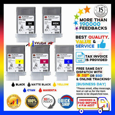5pcs Compatible Ink Cartridges for Canon PF-102 IPF-605 IPF-610 IPF-700 Printer