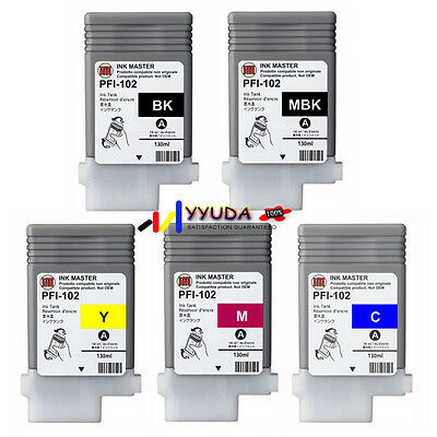 5pcs Generic Ink Cartridges for Canon PF-102 IPF-605 IPF-610 IPF-700 Printer