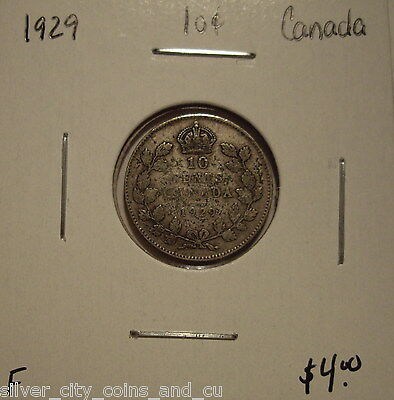 Canada George V 1929 Silver Ten Cents - F