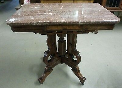 Fantastic Antique Chocolate Marble Top Victorian Burl Walnut Parlor Stand Table