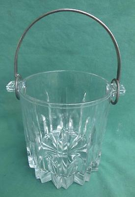 Vintage Italian Clear Glass Ice Bucket W/ Handle Elegant Barware Elegant Italy