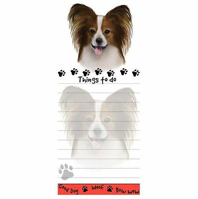 PAPILLON DOG DIECUT LIST PAD NOTES NOTEPAD Magnetic Magnet Refrigerator