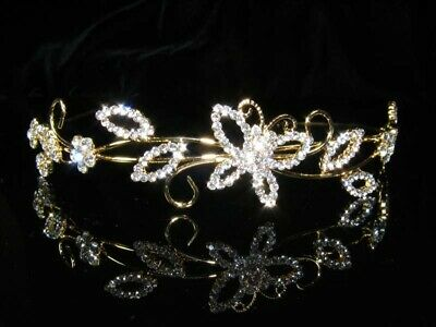 Bridesmaid Prom Flower Girl Butterfly Crystal Gold / Silver Headband Tiara T069G