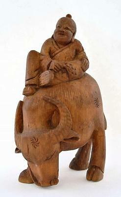 Early 20C Chinese Bamboo Carved Carving Water Buffalo Ox Boy Figure Figurine