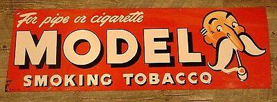 "Vintage MODEL Smoking Tobacco SIGN -- 34"" -- rare pipe cigarette"