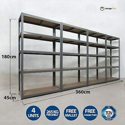4 Garage Shelving Racking Bays 5Tier EXTRA HD Racking Shelves Storage Shed