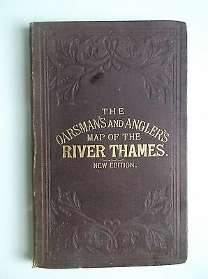 1885 OARSMAN'S ANGLER'S MAP RIVER THAMES scarce color England fold-out linen