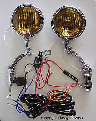 KIT Amber 5 Inch Fog Lights w Chrome Brackets & wiring harness 12 VOLT