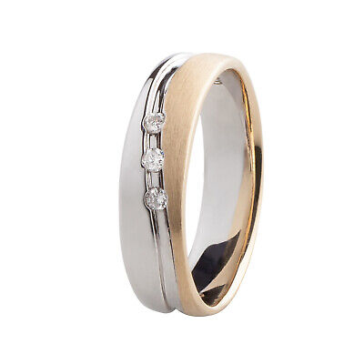 Damen Ring Gold 375 bicolor Weißgold 3 Diamanten 0,06 ct Verlobungsring Brillant