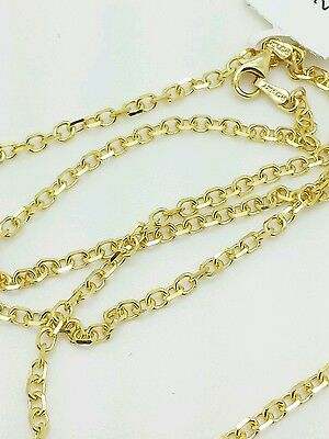 "14k Solid Yellow Gold High Polish Cable Link Pendant Necklace Chain 22"" 2.3mm"
