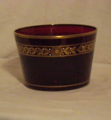 Ruby Gold Decorated Dish