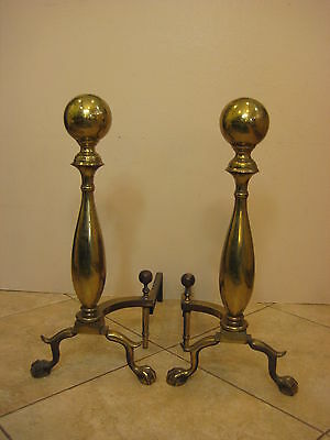 """Pair Of Large Vintage Brass Fireplace Andirons, 24"""" Tall, Made in USA, 31 lbs"""
