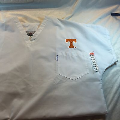 Tennessee Volunteers White Scrubs Top Shirt By Spectrum NWT Sz 2XL